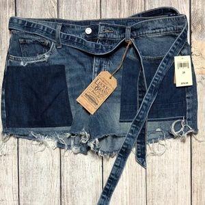 NWT Lucky Brand Blue Denim Patch Cut Off Shorts